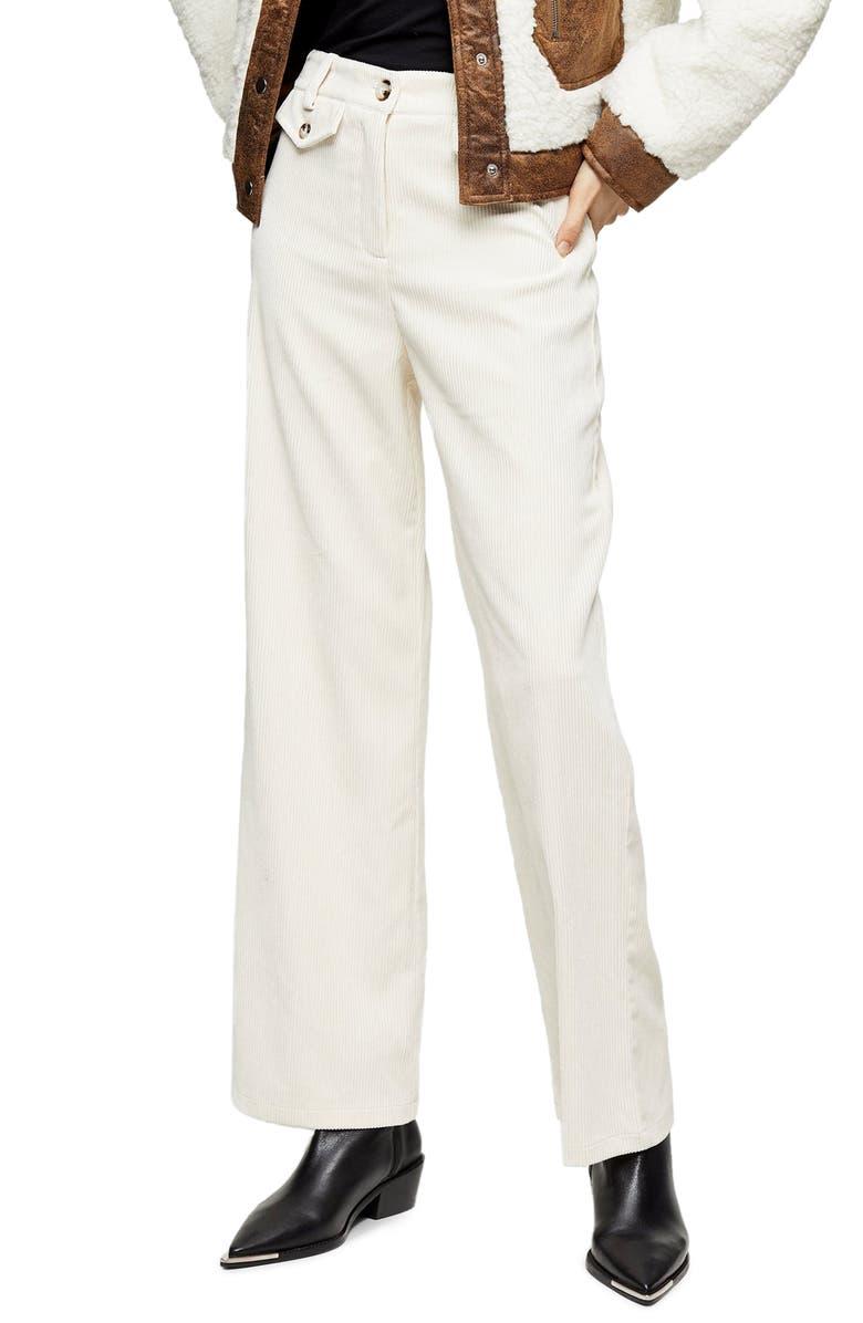 TOPSHOP Corduroy Wide Leg Trousers, Main, color, CREAM