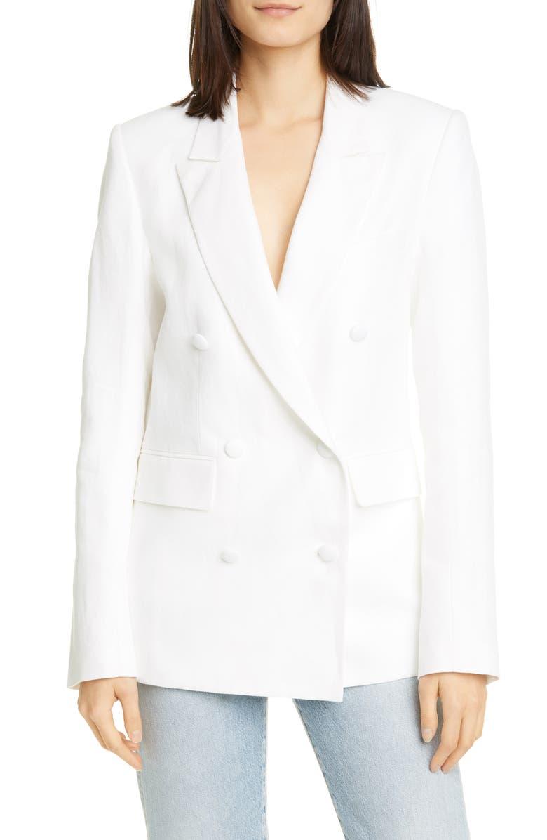 RTA Clark Oversize Double Breasted Cotton & Linen Blazer, Main, color, 100
