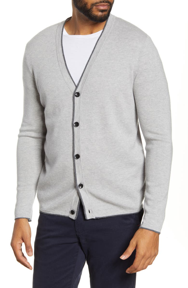 NORDSTROM SIGNATURE Cashmere Cardigan, Main, color, GREY ALLOY HEATHER