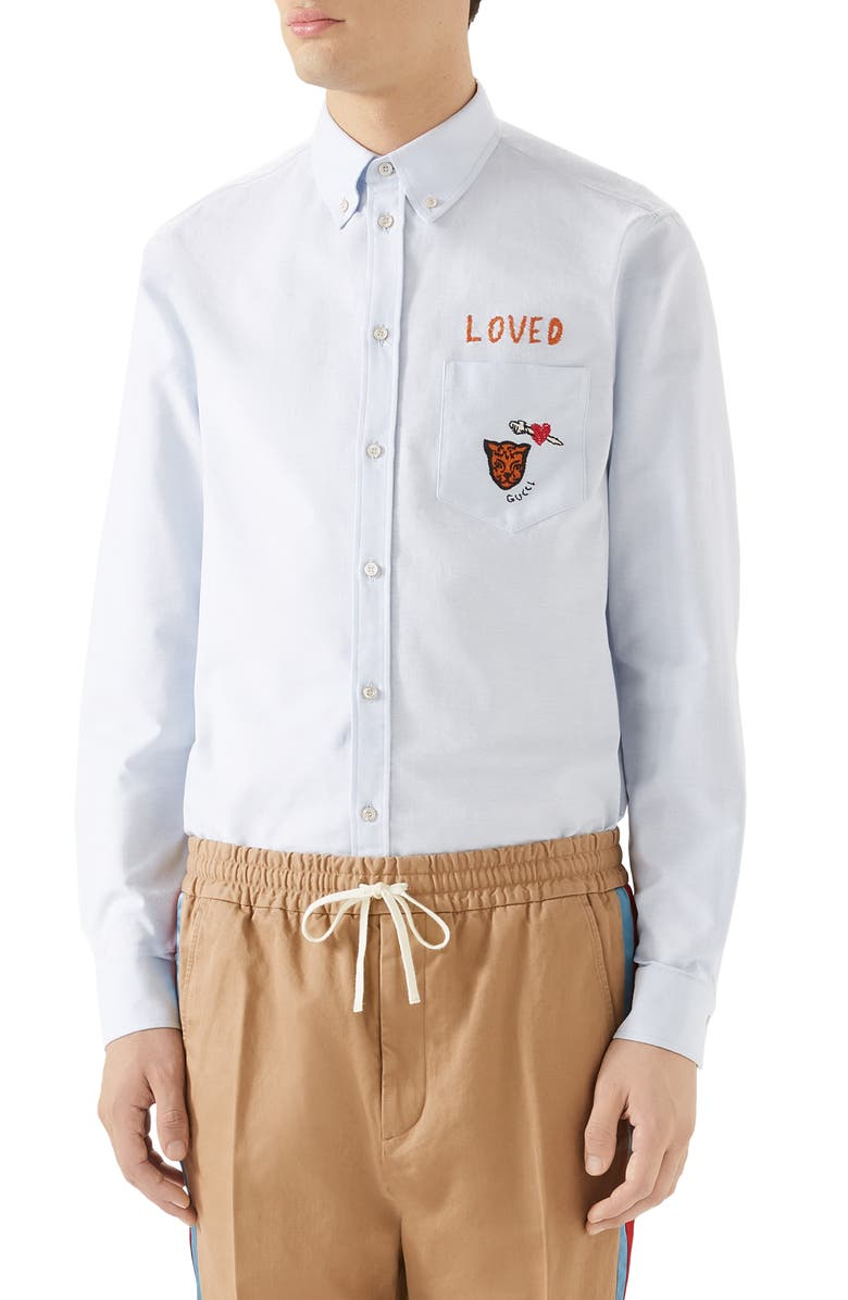 GUCCI Loved Embroidered Boxy Oxford Shirt, Main, color, LIGHT CLOUD