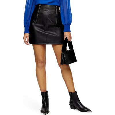 Topshop Etta Faux Leather Zip Miniskirt, US (fits like 14) - Black