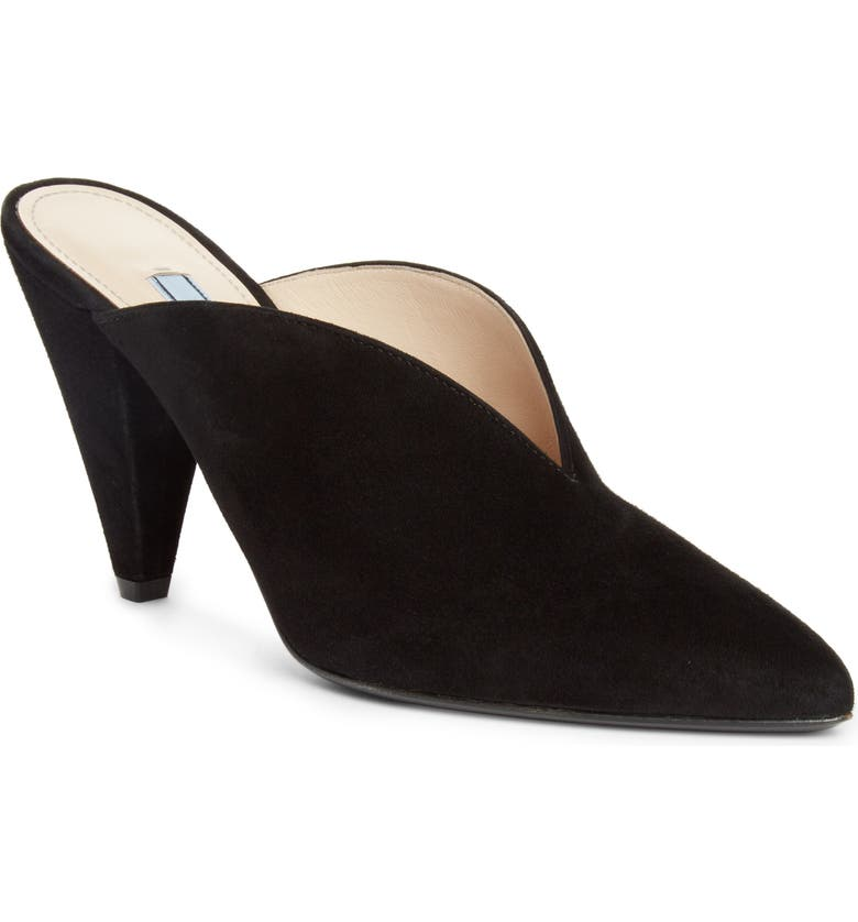 PRADA Pointy Toe Mule, Main, color, BLACK