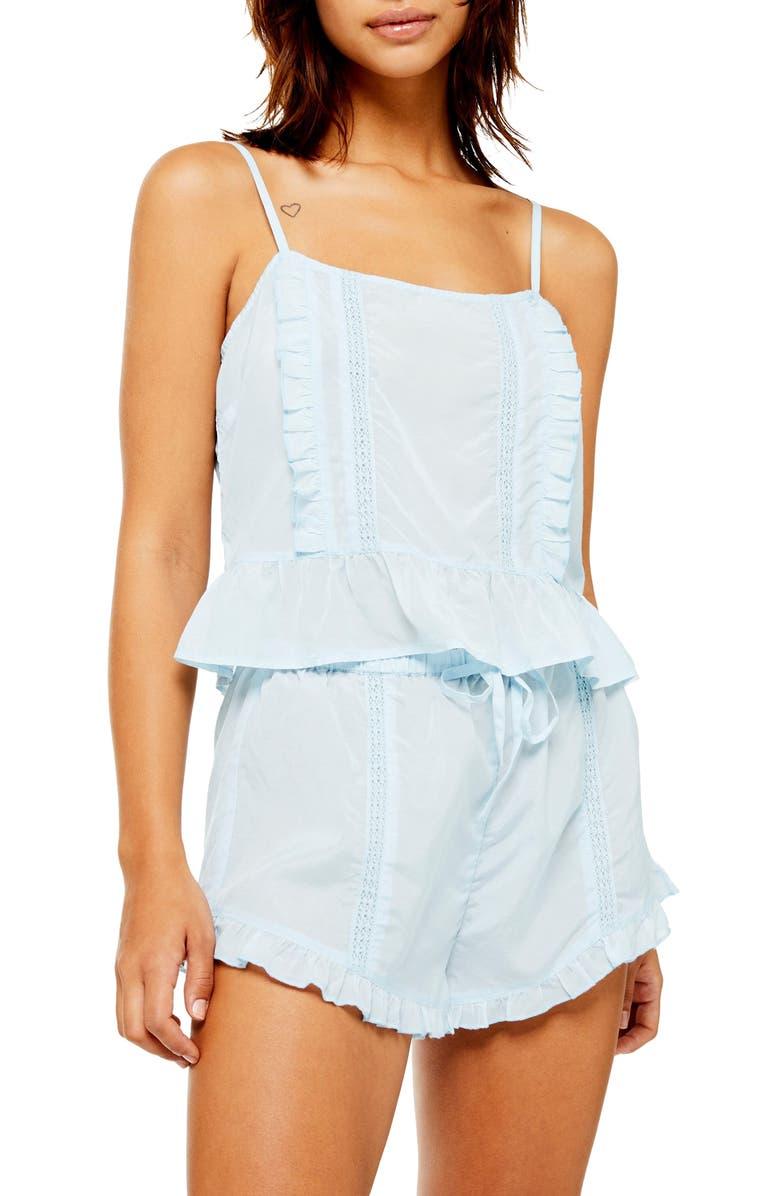 TOPSHOP Frill Lace Pajamas, Main, color, 450