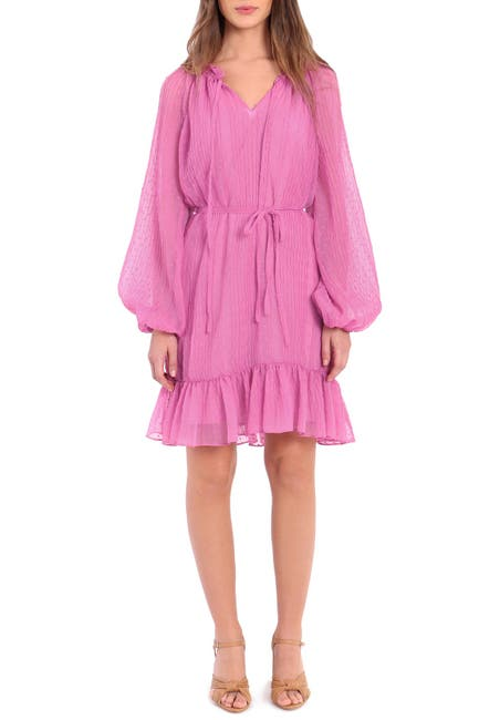 Image of Donna Morgan V-Neck Puff Sleeve Sheer Dress