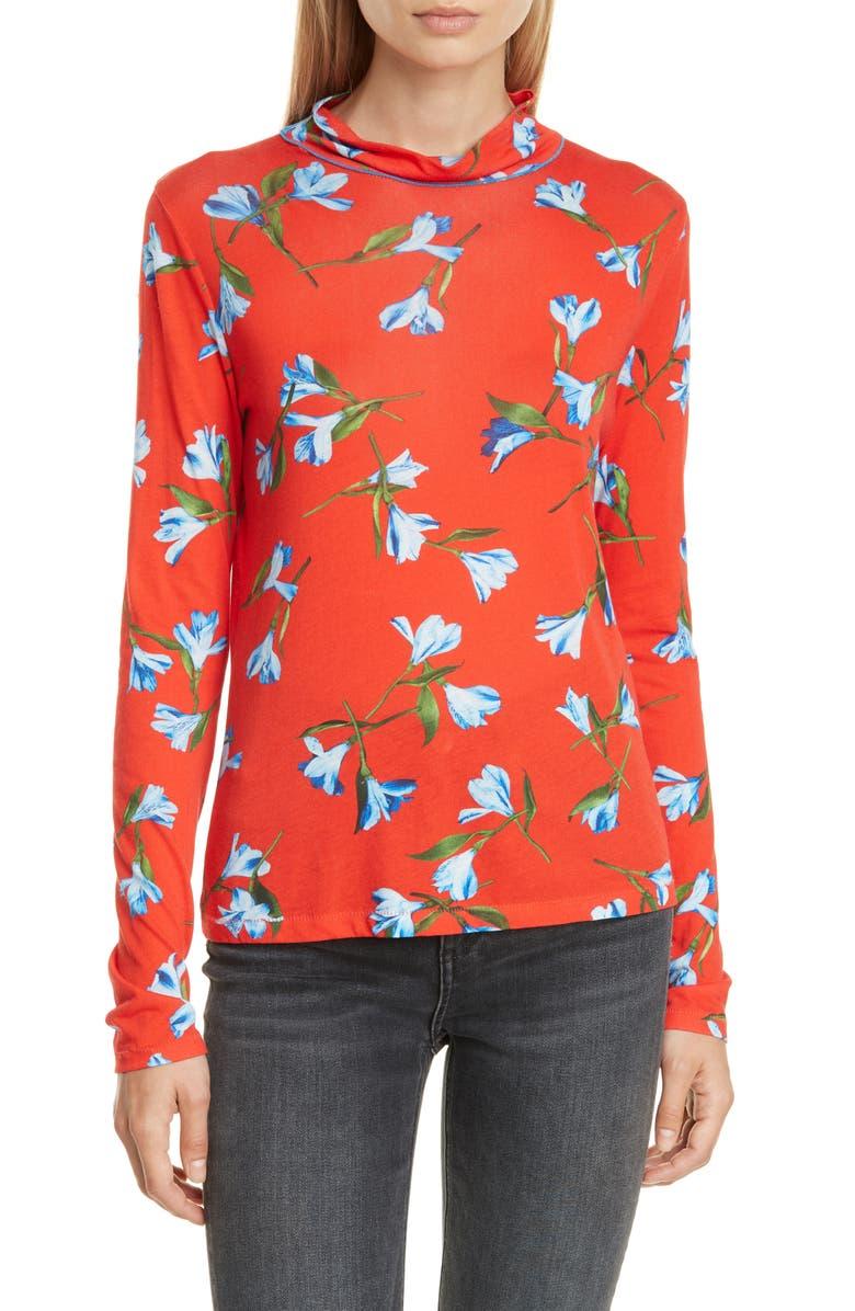 RAG & BONE Shaw Floral Jersey Turtleneck, Main, color, REDMULT