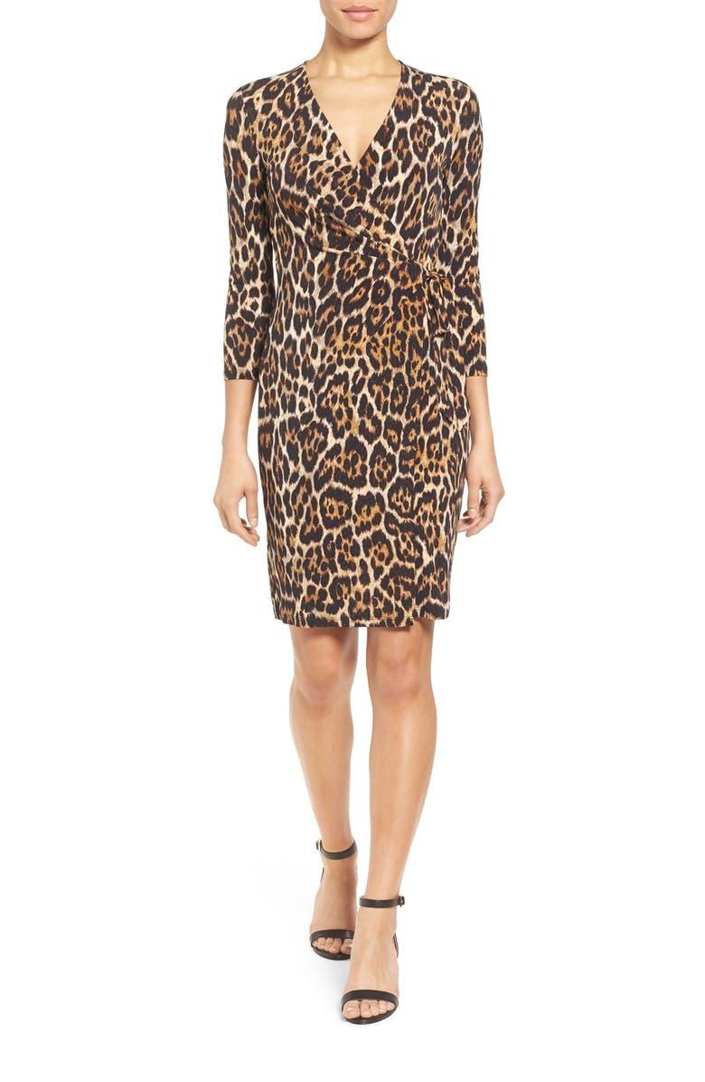 ANNE KLEIN Animal Print Faux Wrap Dress, Main, color, 206