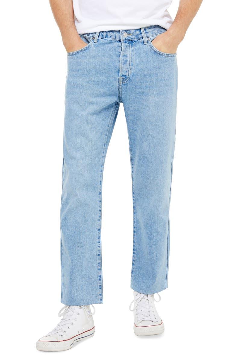 TOPMAN Bleach Straight Leg Raw Hem Dad Jeans, Main, color, BLUE
