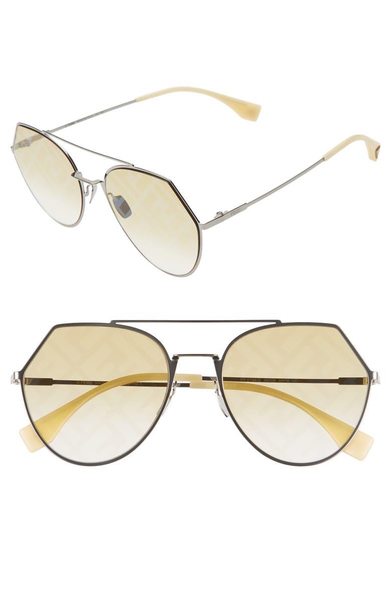 FENDI Eyeline 55mm Sunglasses, Main, color, SILVER/ HONEY