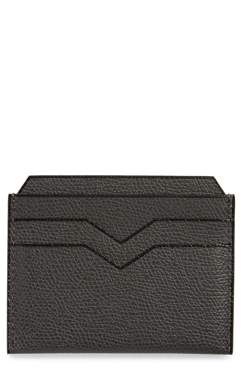VALEXTRA Leather Card Case, Main, color, FUMO DI LONDRA