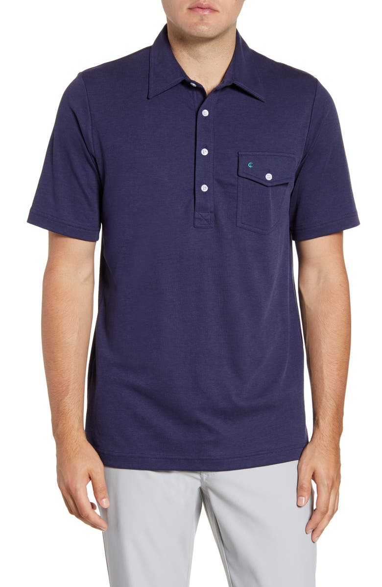 CRIQUET Players Regular Fit Solid Piqué Pocket Polo, Main, color, NAVY