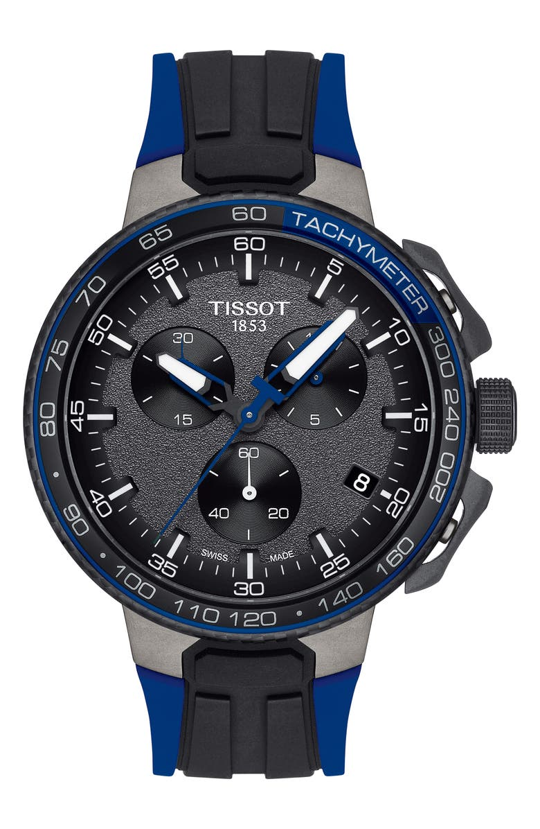 TISSOT T-Race Cycling Chronograph Watch, 44.5mm, Main, color, BLUE/ ANTHRACITE/ BLACK
