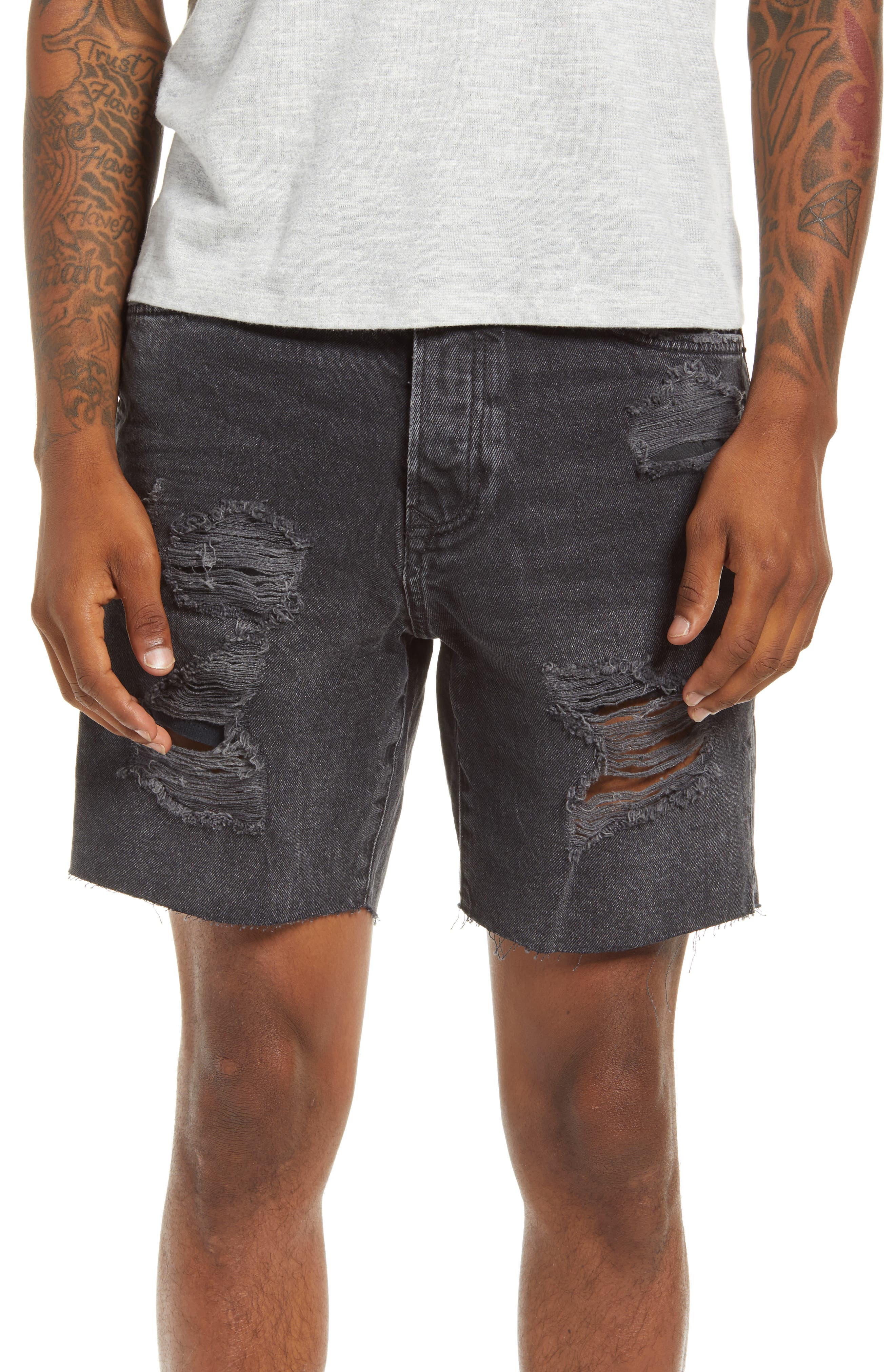Loved the lived-in look of these faded black jeans shorts designed with edgy distressing. Style Name: Topman Ripped Denim Shorts (Washed Black). Style Number: 6092002. Available in stores.