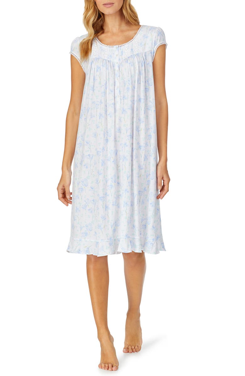 EILEEN WEST Waltz Floral Nightgown, Main, color, WHITE GROUND WITH PERI FLORAL
