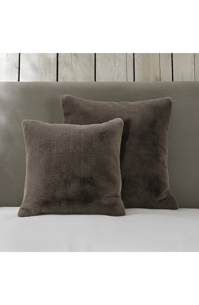 THE WHITE COMPANY Supersoft Faux Fur Cushion Cover, Main, color, TRUFFLE