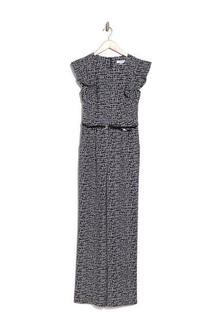 Image of Calvin Klein Check Ruffle Sleeveless Belted Jumpsuit