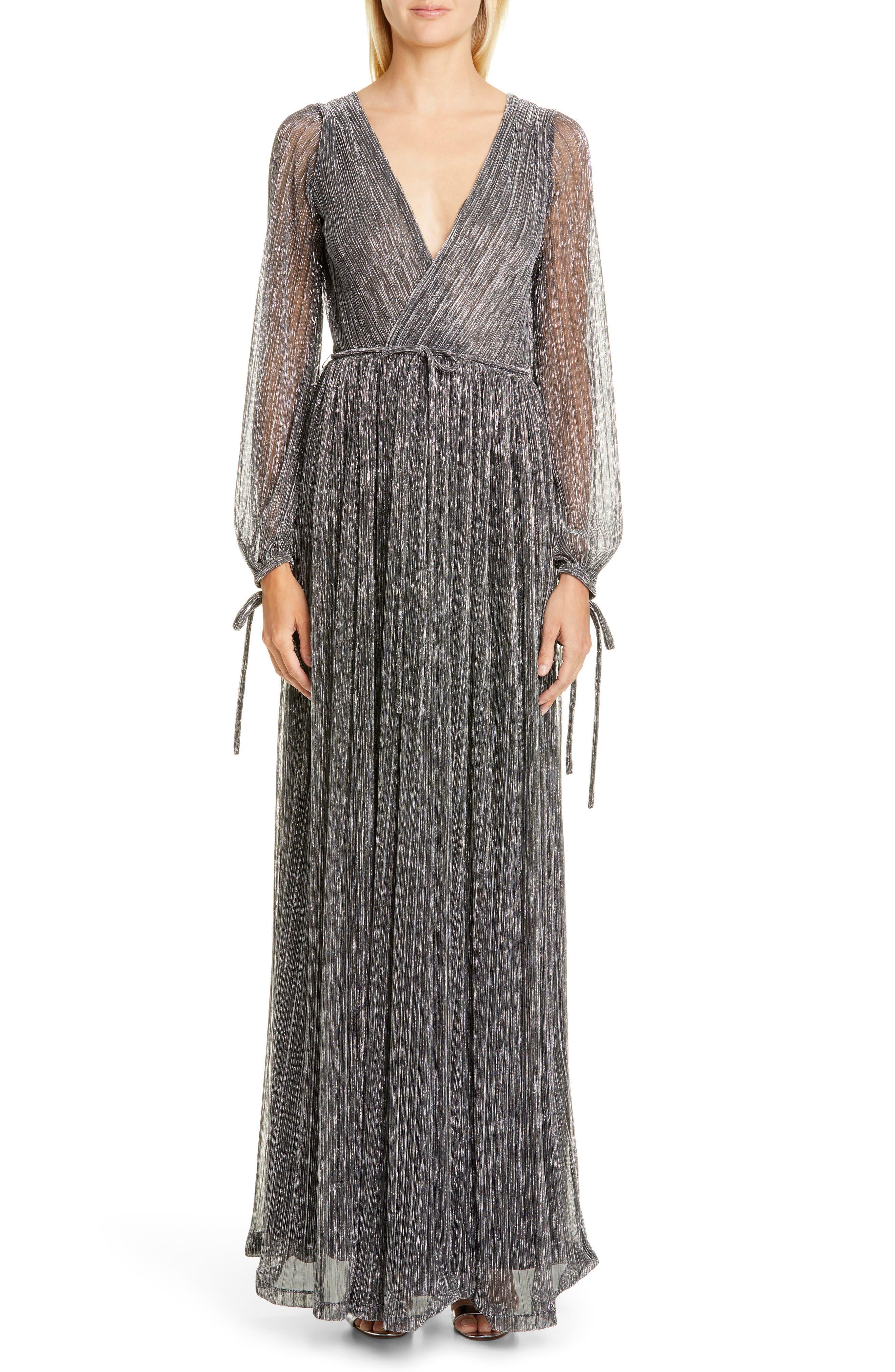 Zac Zac Posen Cristina Long Sleeve Gown, Grey