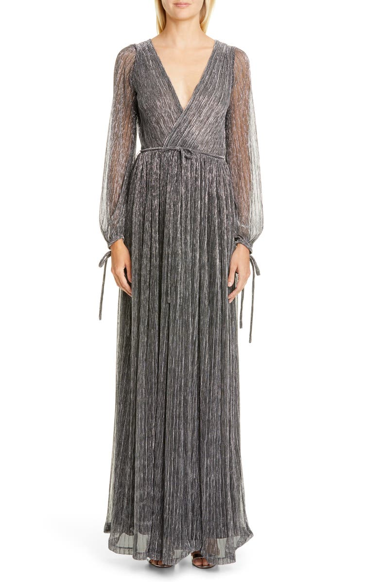 ZAC ZAC POSEN Cristina Long Sleeve Gown, Main, color, BLACK-SILVER