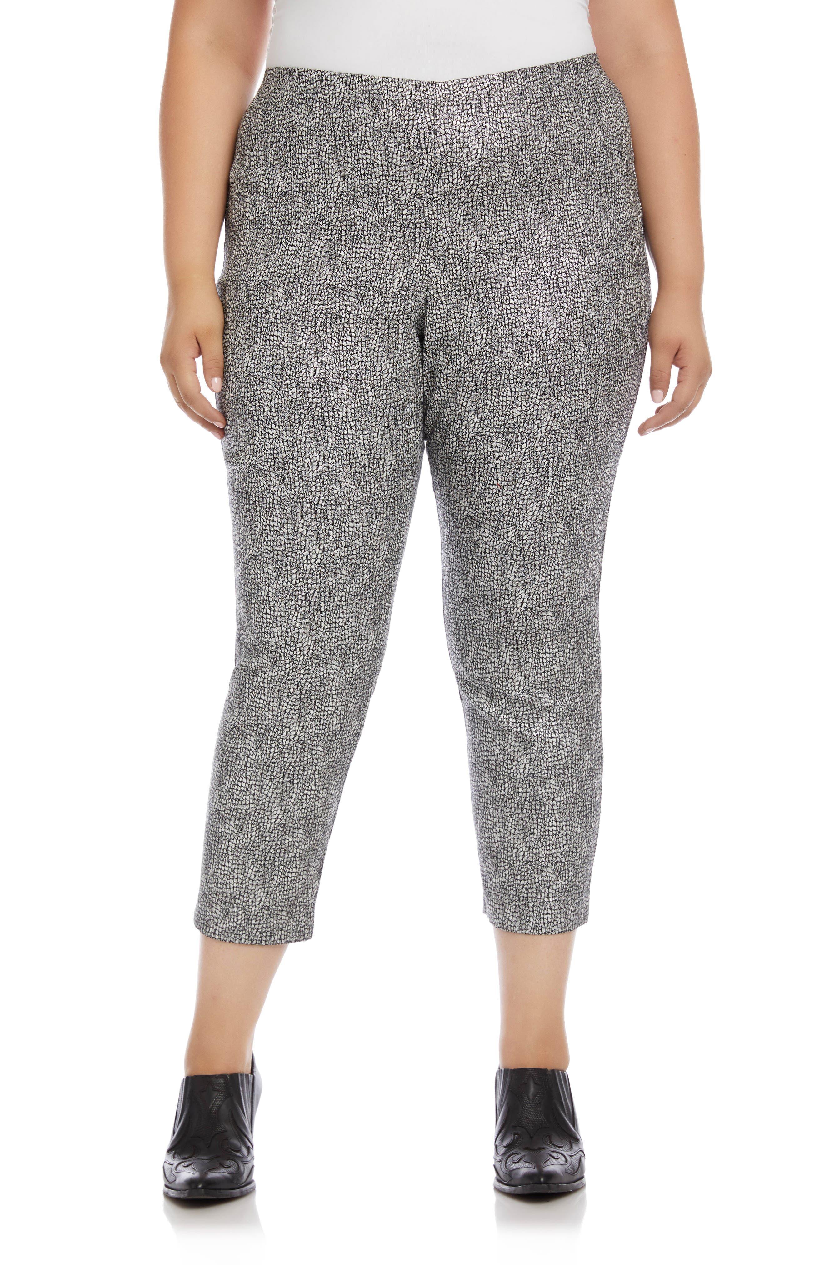 Image of Karen Kane Metallic Jacquard Piper Pants