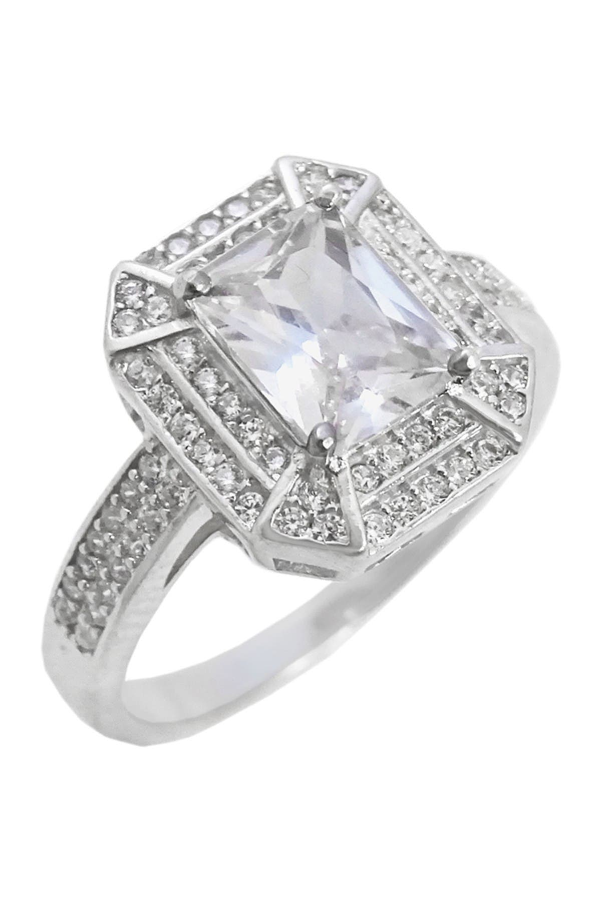Savvy Cie Sterling Silver CZ Rectangle Ring at Nordstrom Rack