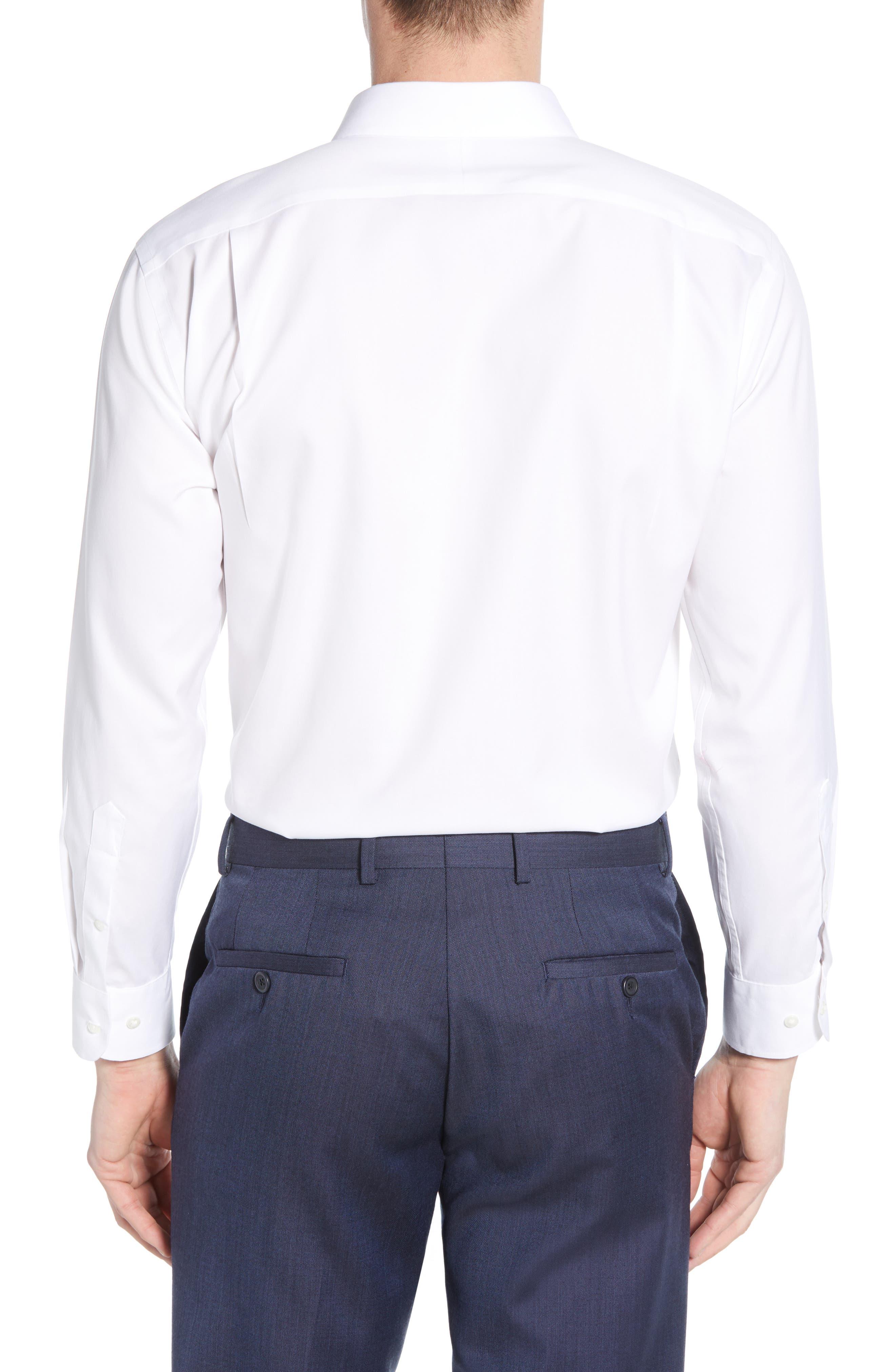 ,                             Smartcare<sup>™</sup> Trim Fit Solid Dress Shirt,                             Alternate thumbnail 3, color,                             WHITE BRILLIANT