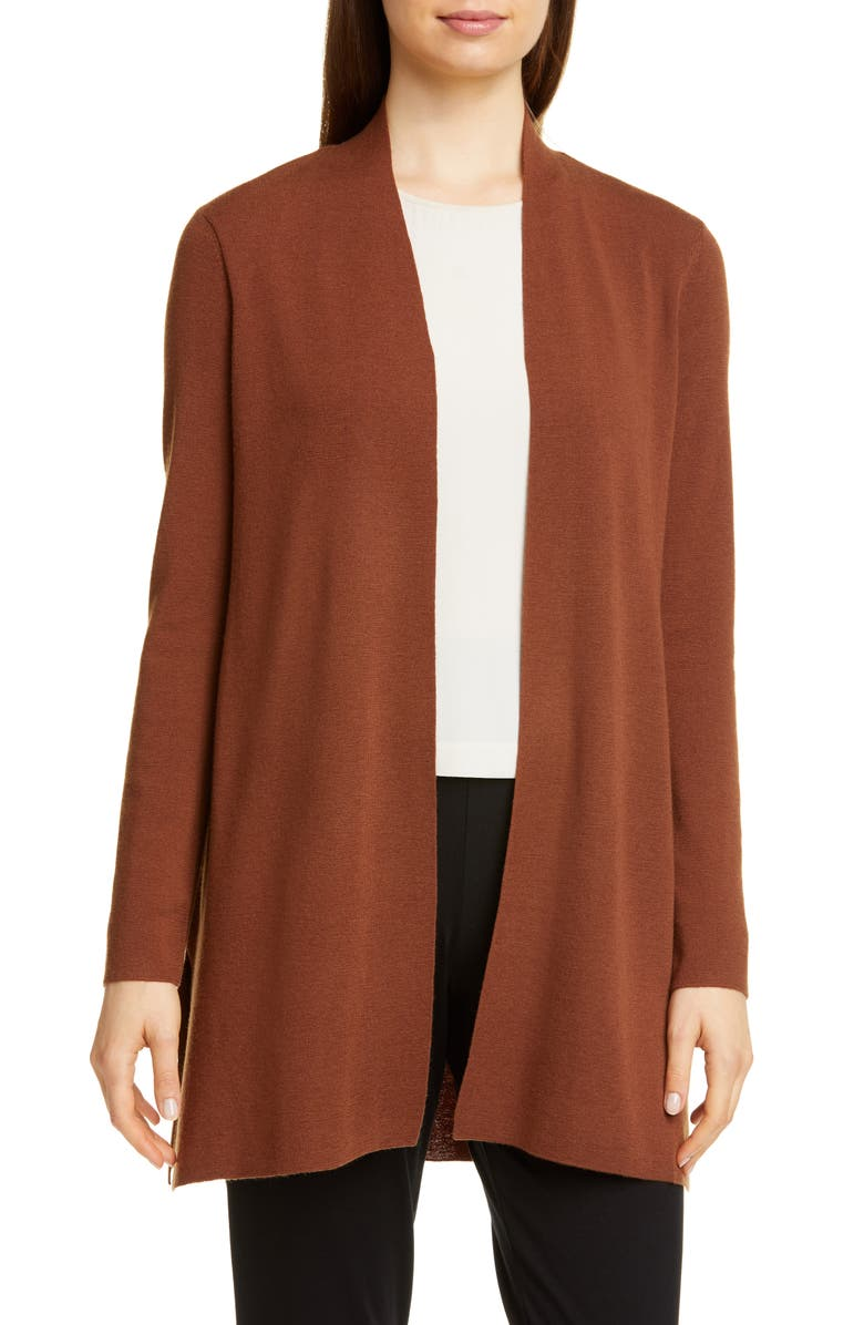 EILEEN FISHER Merino Straight Long Cardigan, Main, color, NUTMEG