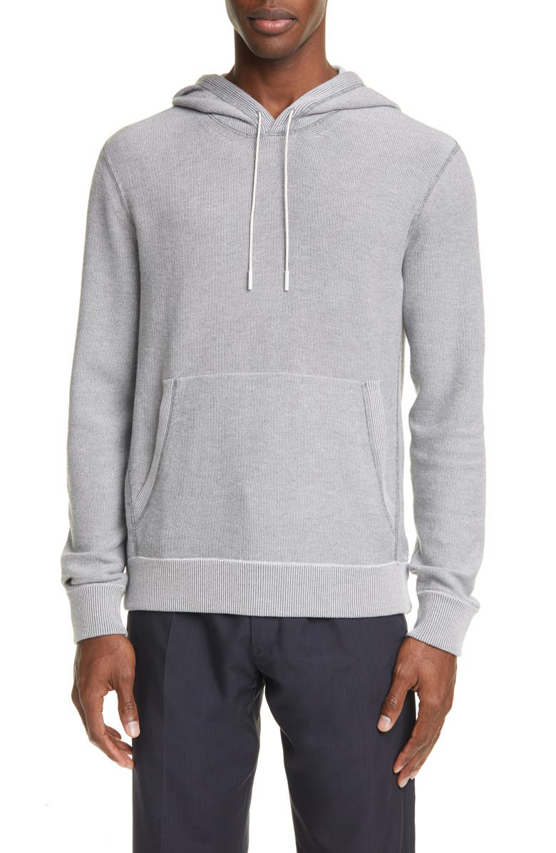 ERMENEGILDO ZEGNA Cotton Blend Hoodie, Main, color, GREY