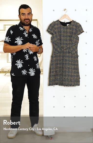 Metallic Check Fringe Tweed Sheath Dress, sales video thumbnail