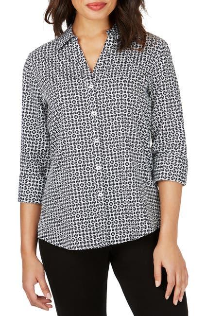 Image of FOXCROFT Mary Status Geometric Print Non-Iron Shirt