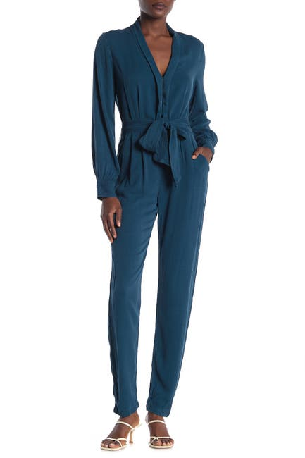 Image of On The Road Dove Waist Tie Woven Jumpsuit