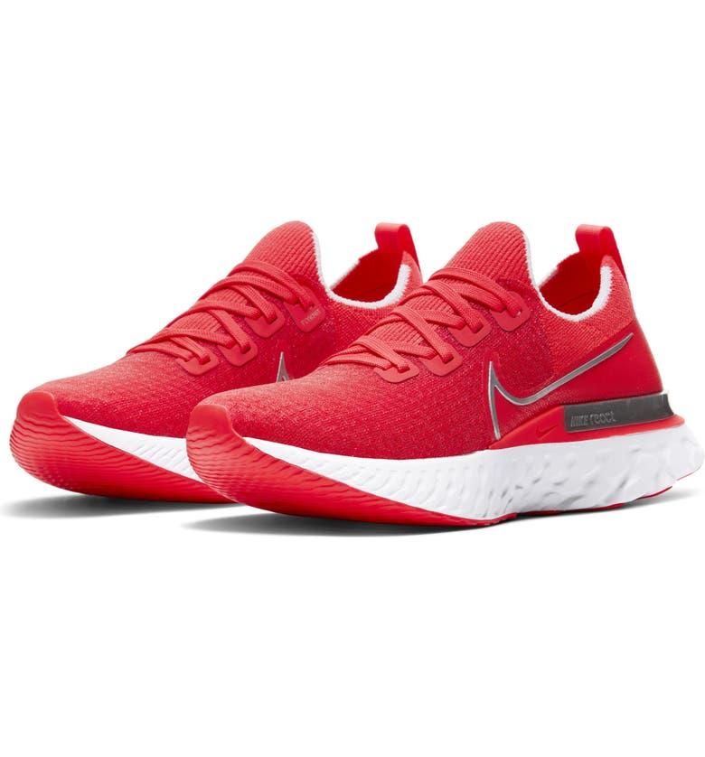 NIKE React Infinity Run Flyknit Running Shoe, Main, color, CRIMSON/ WHITE/ RED/ SILVER