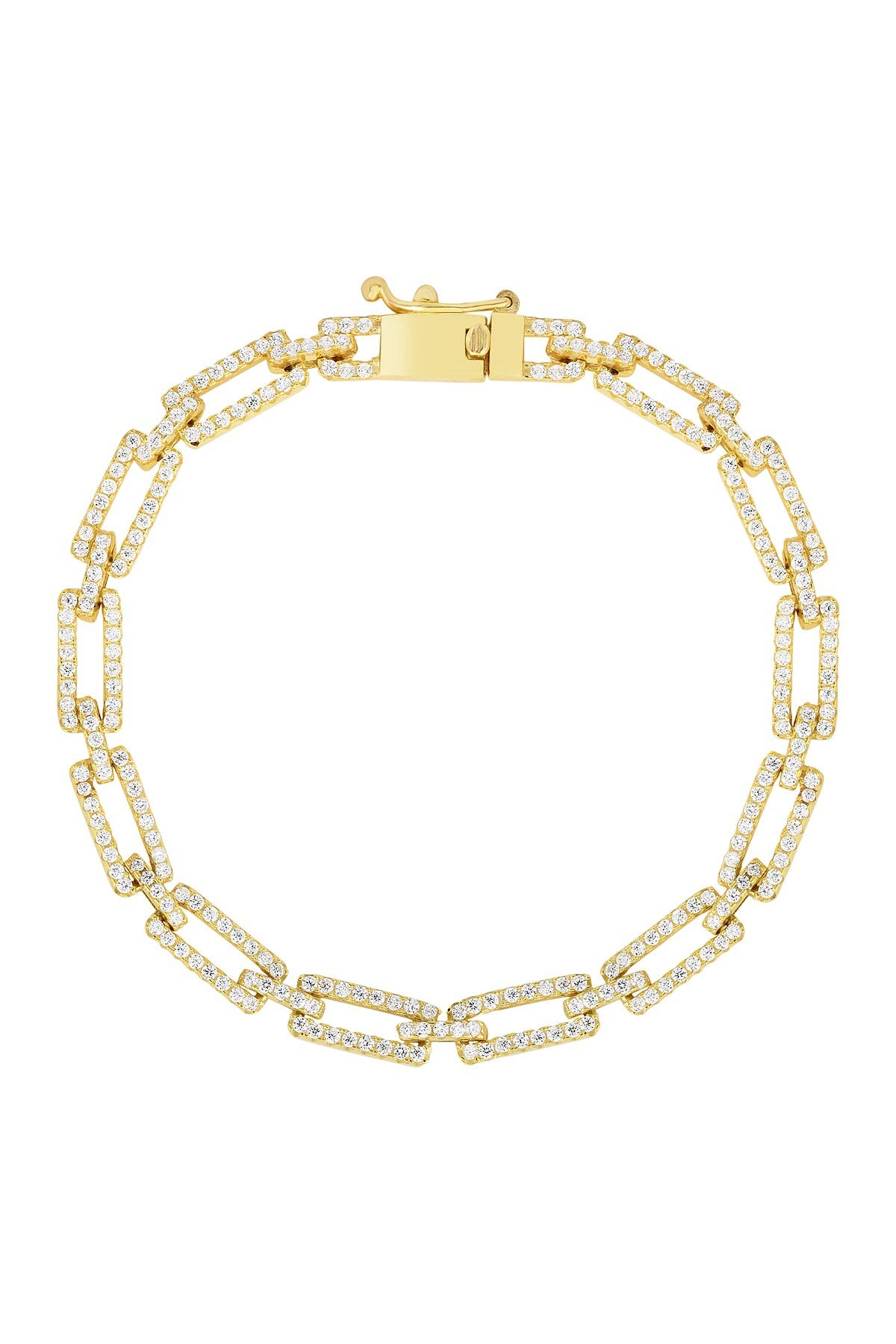 Image of Sphera Milano 14K Yellow Gold Plated Sterling Silver Pave CZ Link Bracelet