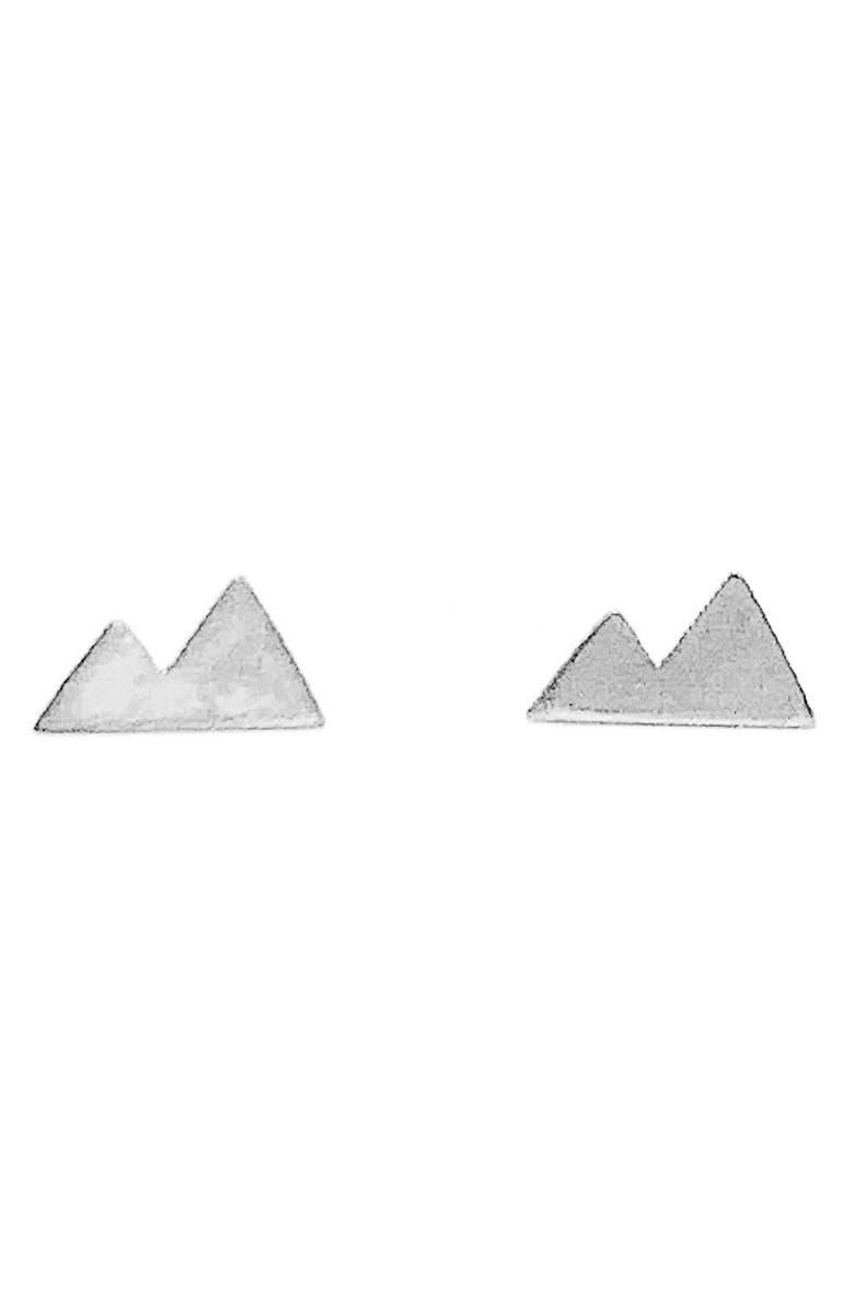 NASHELLE Mini Mountain Stud Earrings, Main, color, SILVER