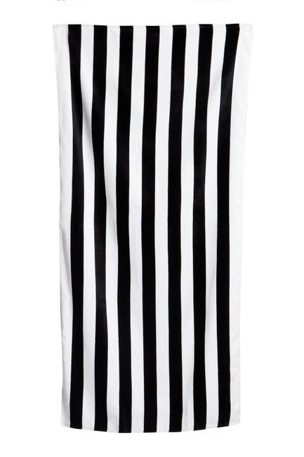 Image of Apollo Towels Cabana Stripe Beach Towel - Black