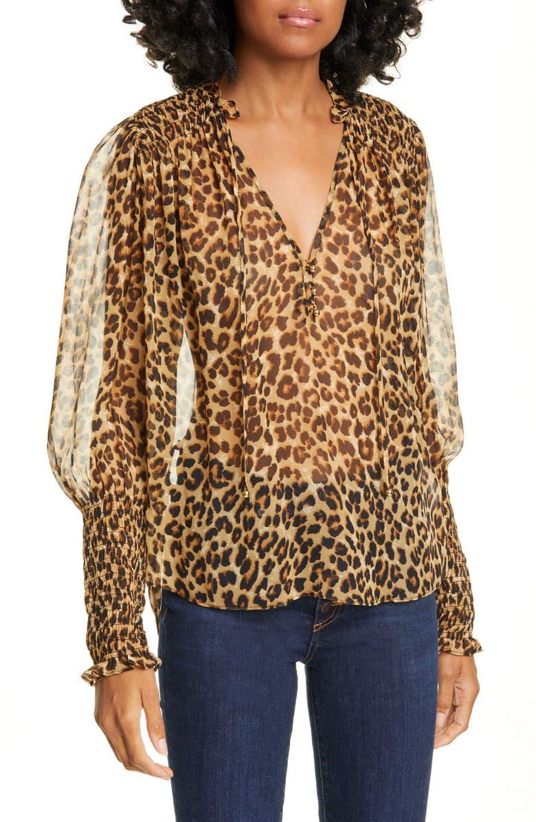 VERONICA BEARD Jaz Leopard Print Silk Chiffon Blouse, Main, color, LEOPARD