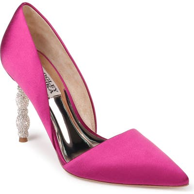 Badgley Mischka Emily Crystal Heel Pointed Toe Pump