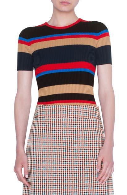 Akris Punto Sweaters STRIPE RIB MERINO WOOL SWEATER
