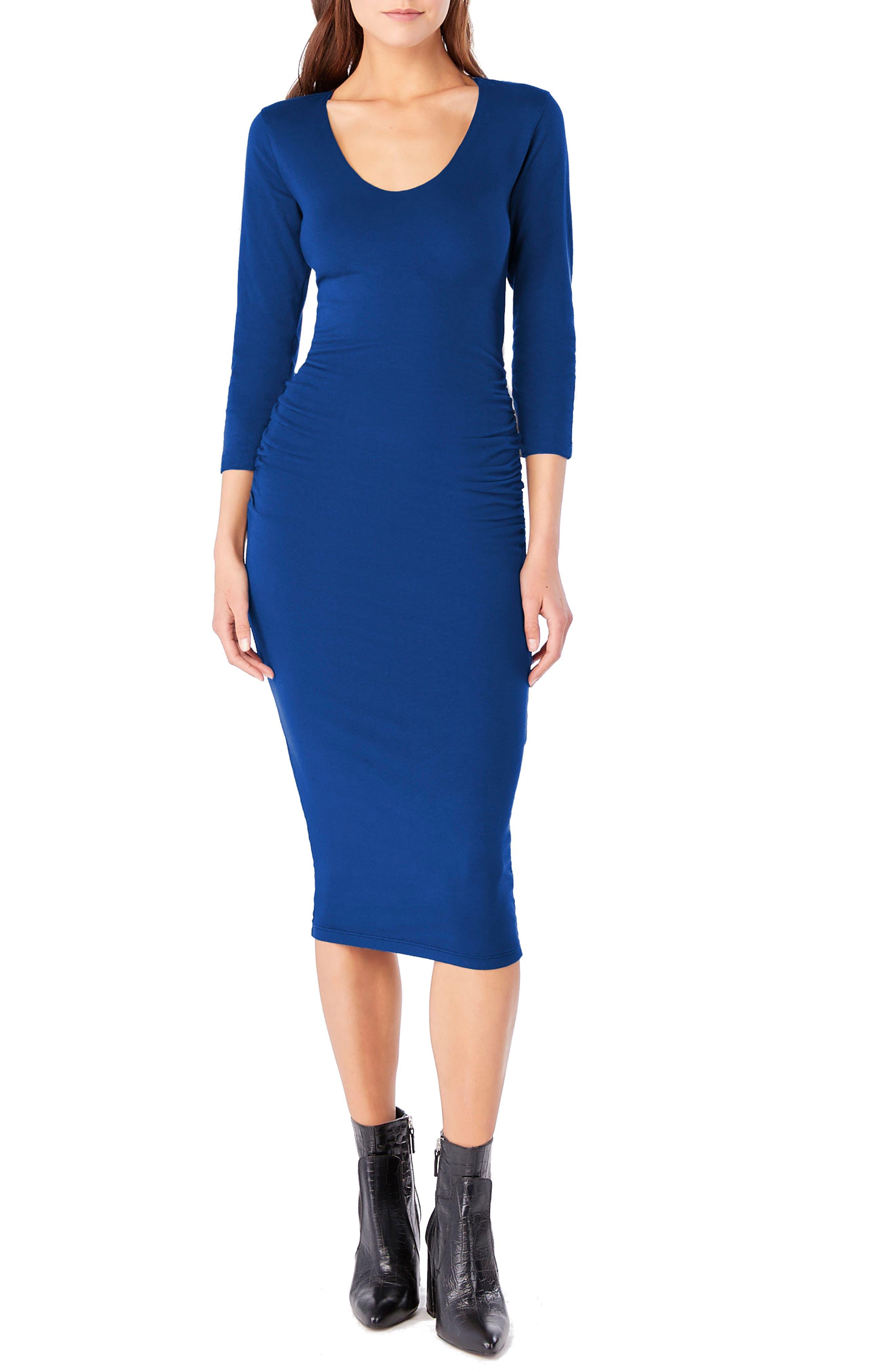 Petite Michael Stars Ruched Midi Dress, Blue