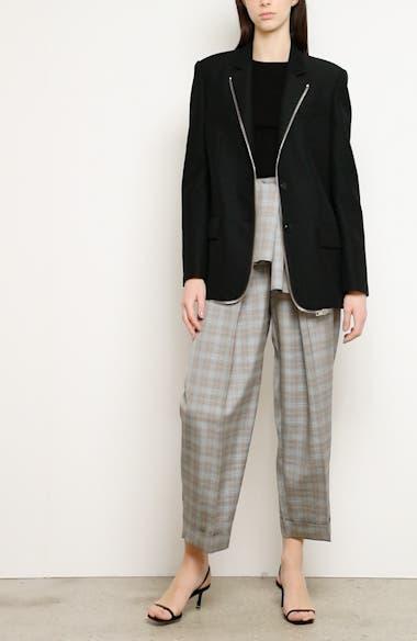 Zipper Trim Oversized Wool Blend Blazer, video thumbnail