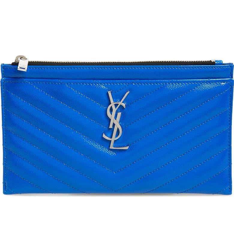 SAINT LAURENT Monogram Matelassé Leather Pouch, Main, color, NEON BLUE