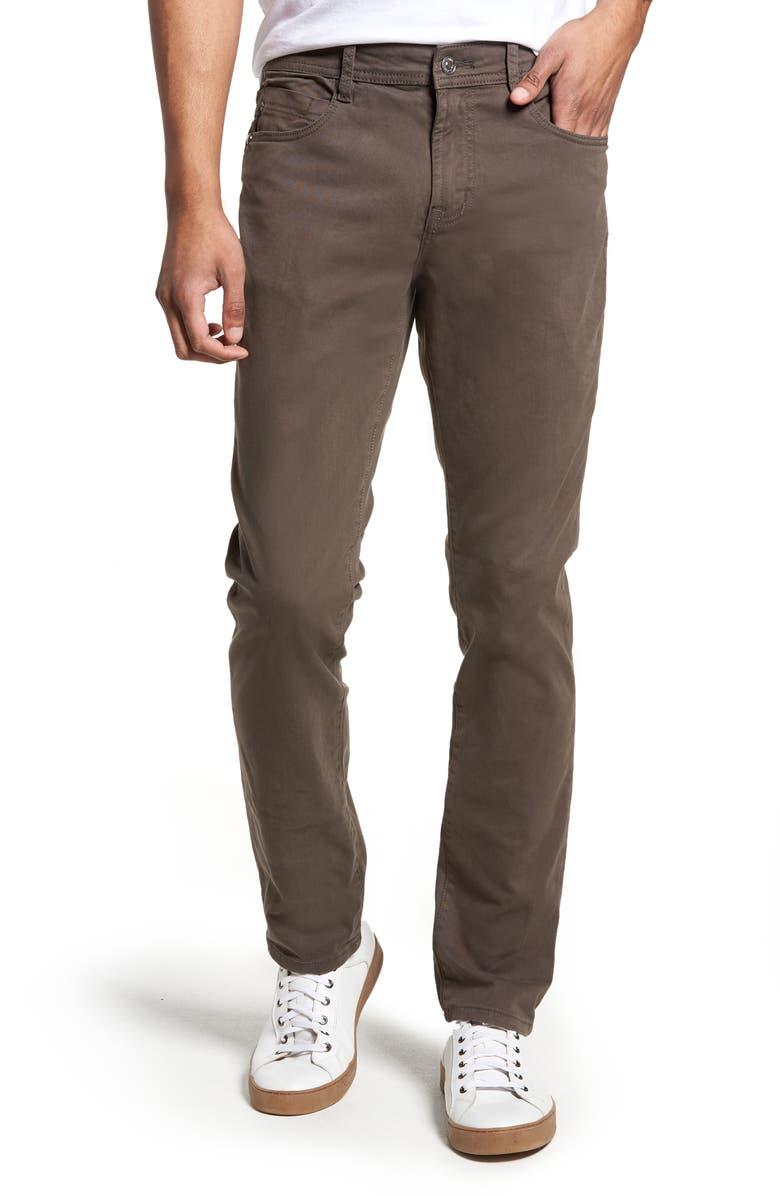 LIVERPOOL Kingston Slim Straight Leg Twill Pants, Main, color, DEEP EARTH