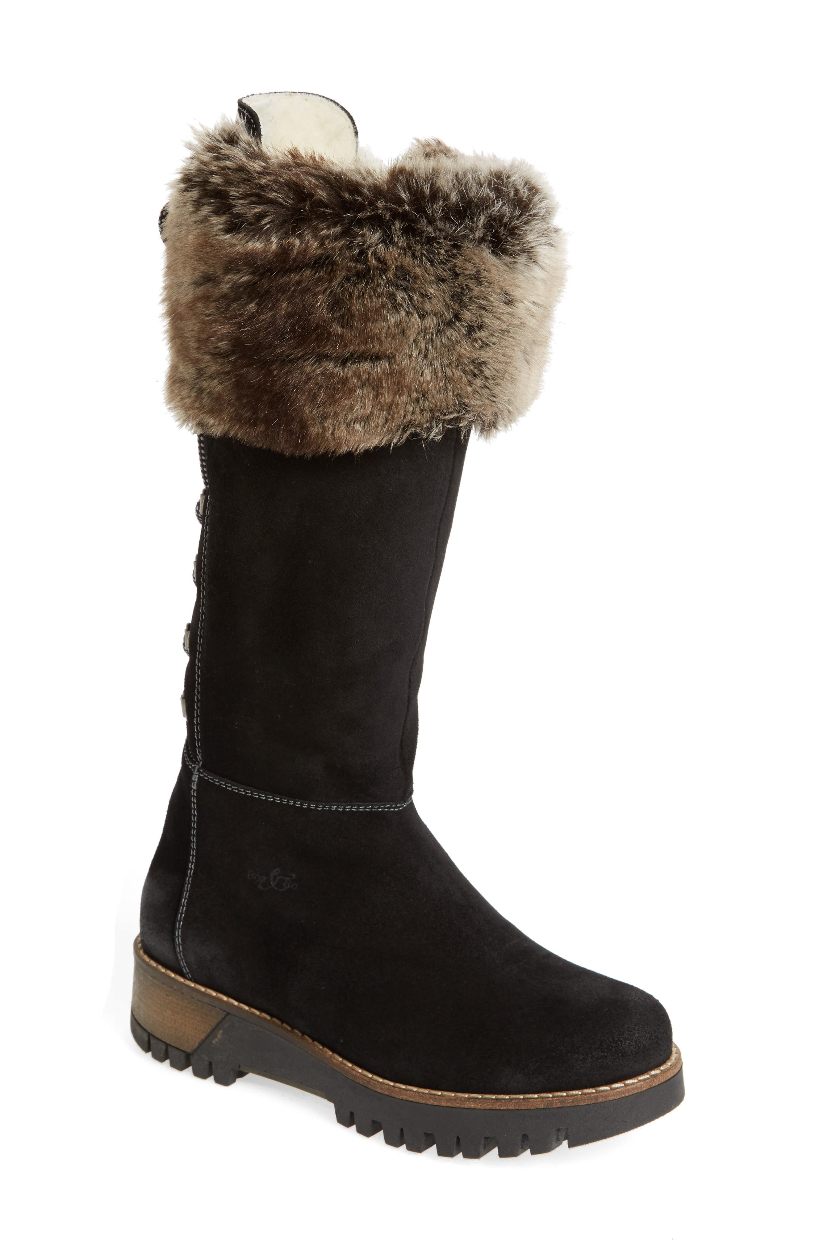 ,                             Graham Waterproof Winter Boot with Faux Fur Cuff,                             Main thumbnail 1, color,                             001