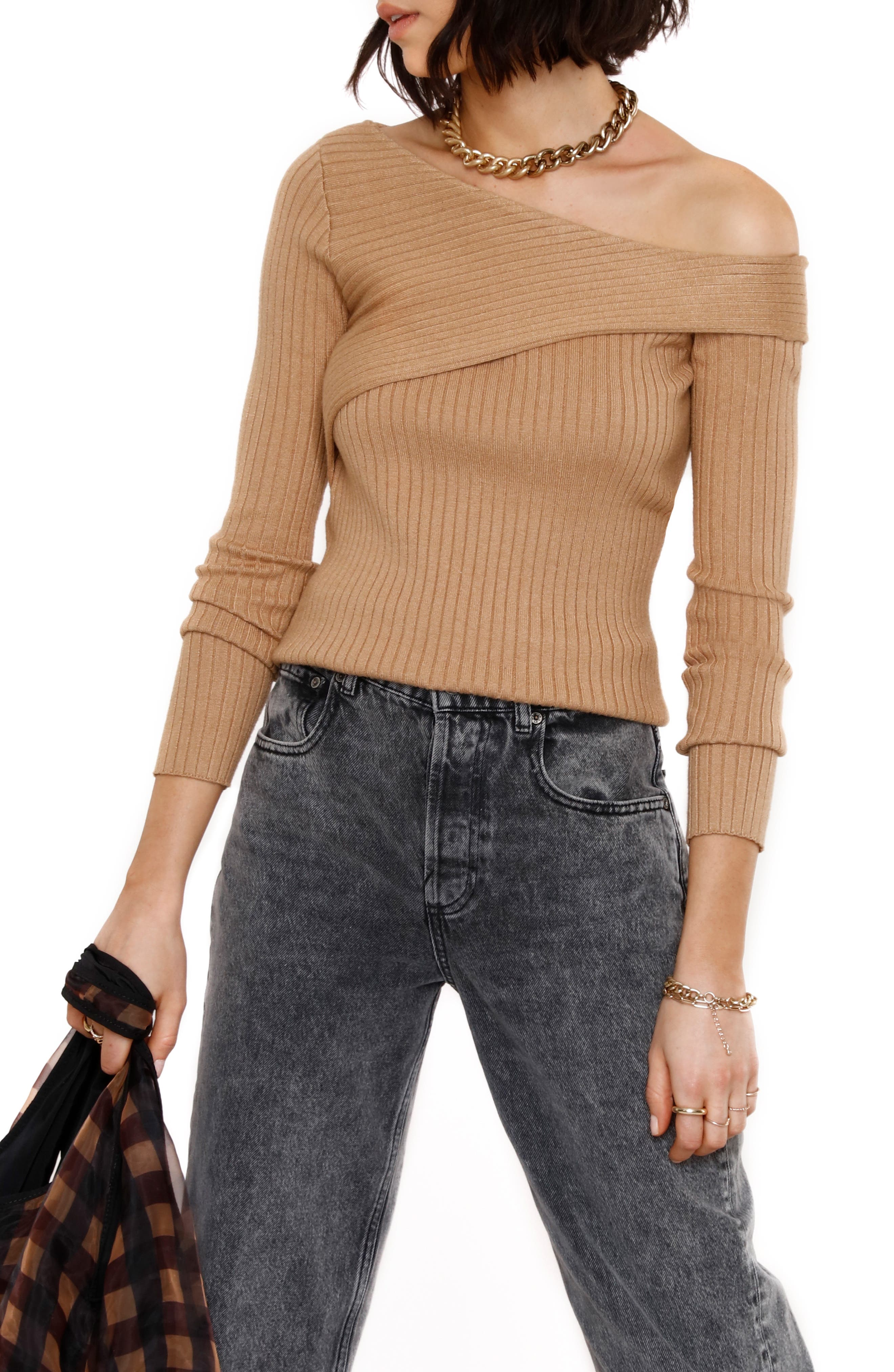 Ribbed One Shoulder Sweater