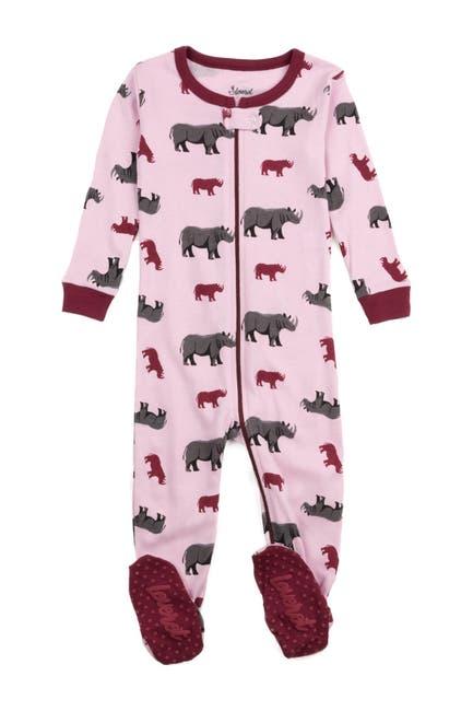 Image of Leveret Purple Rhino Footed Sleeper Pajama