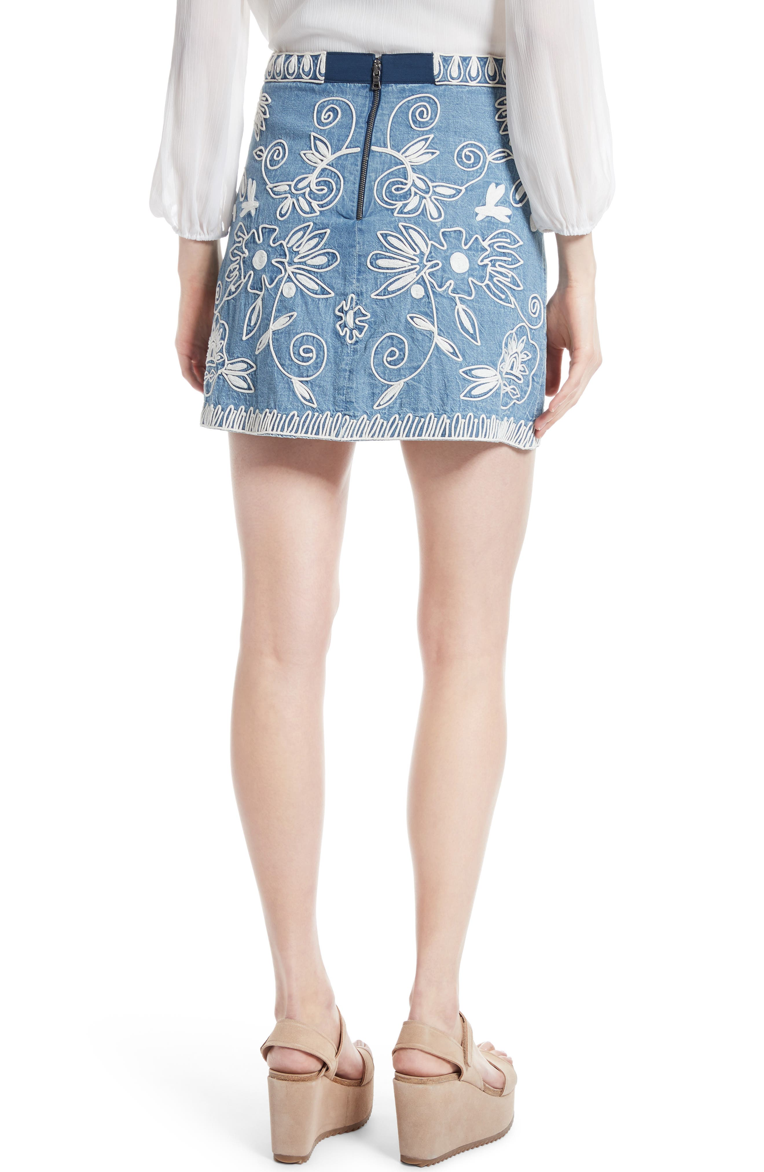 ,                             Riley Embroidered Chambray Miniskirt,                             Alternate thumbnail 2, color,                             405