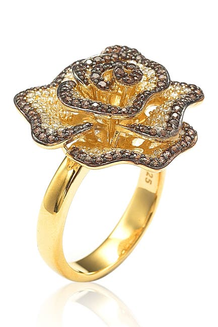 Image of Suzy Levian 14K Yellow Gold Plated Sterling Silver Chocolate CZ Ring