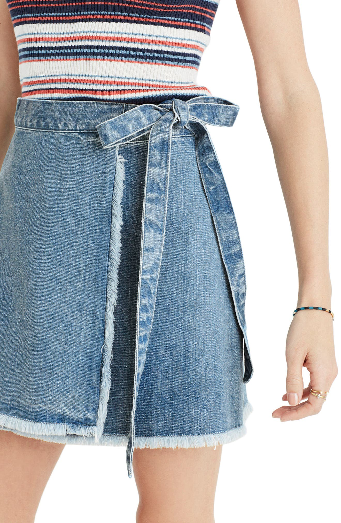 ,                             Raw Hem Wrap Denim Skirt,                             Alternate thumbnail 3, color,                             400