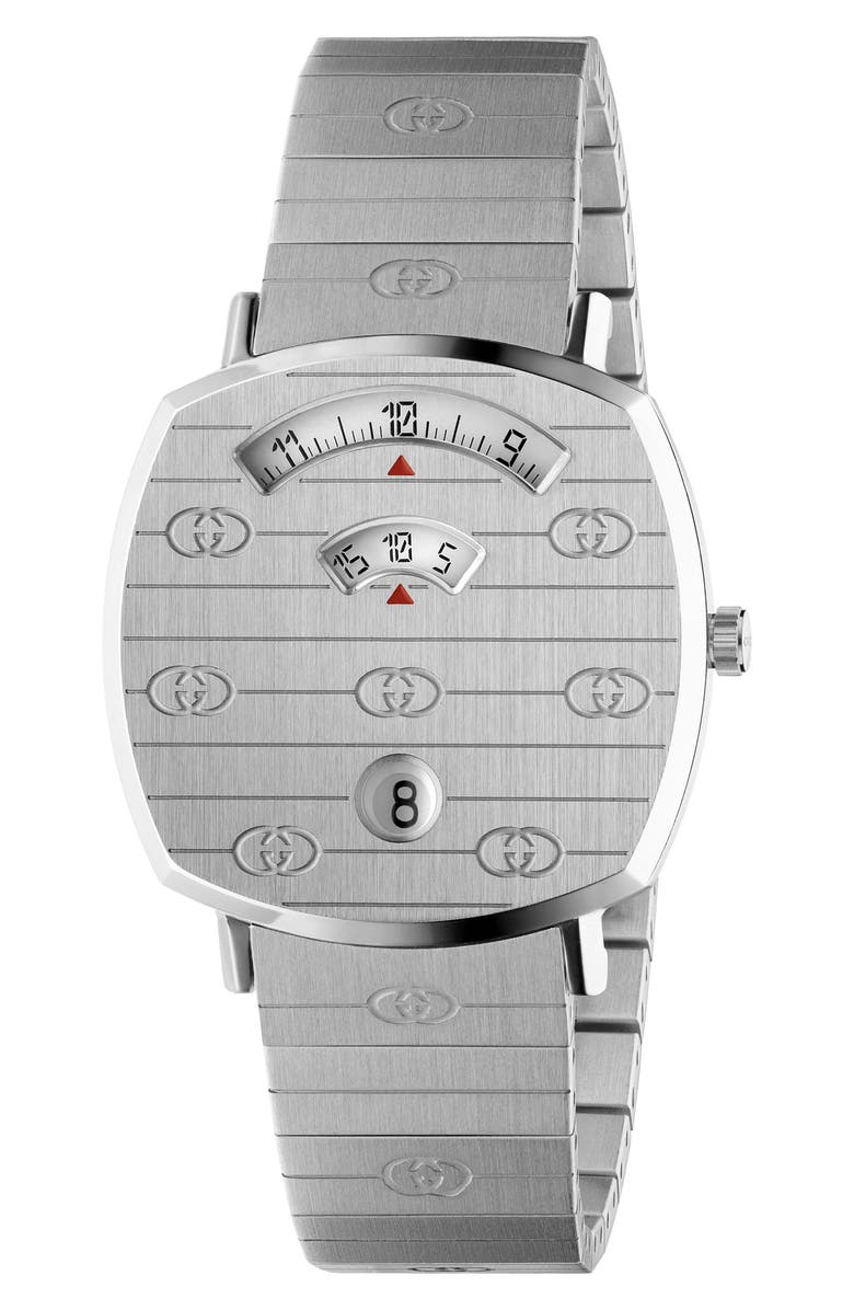 GUCCI Grip Bracelet Watch, 35mm, Main, color, SILVER