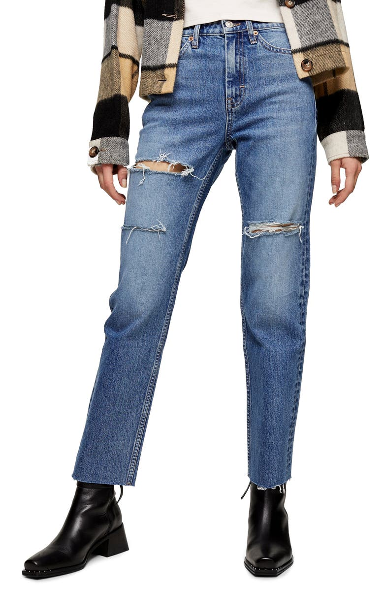 TOPSHOP Sofia Ripped Straight Leg Jeans, Main, color, BLUE