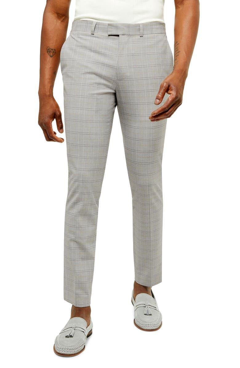 TOPMAN Lemen Slim Fit Cropped Plaid Pants, Main, color, GREY MULTI