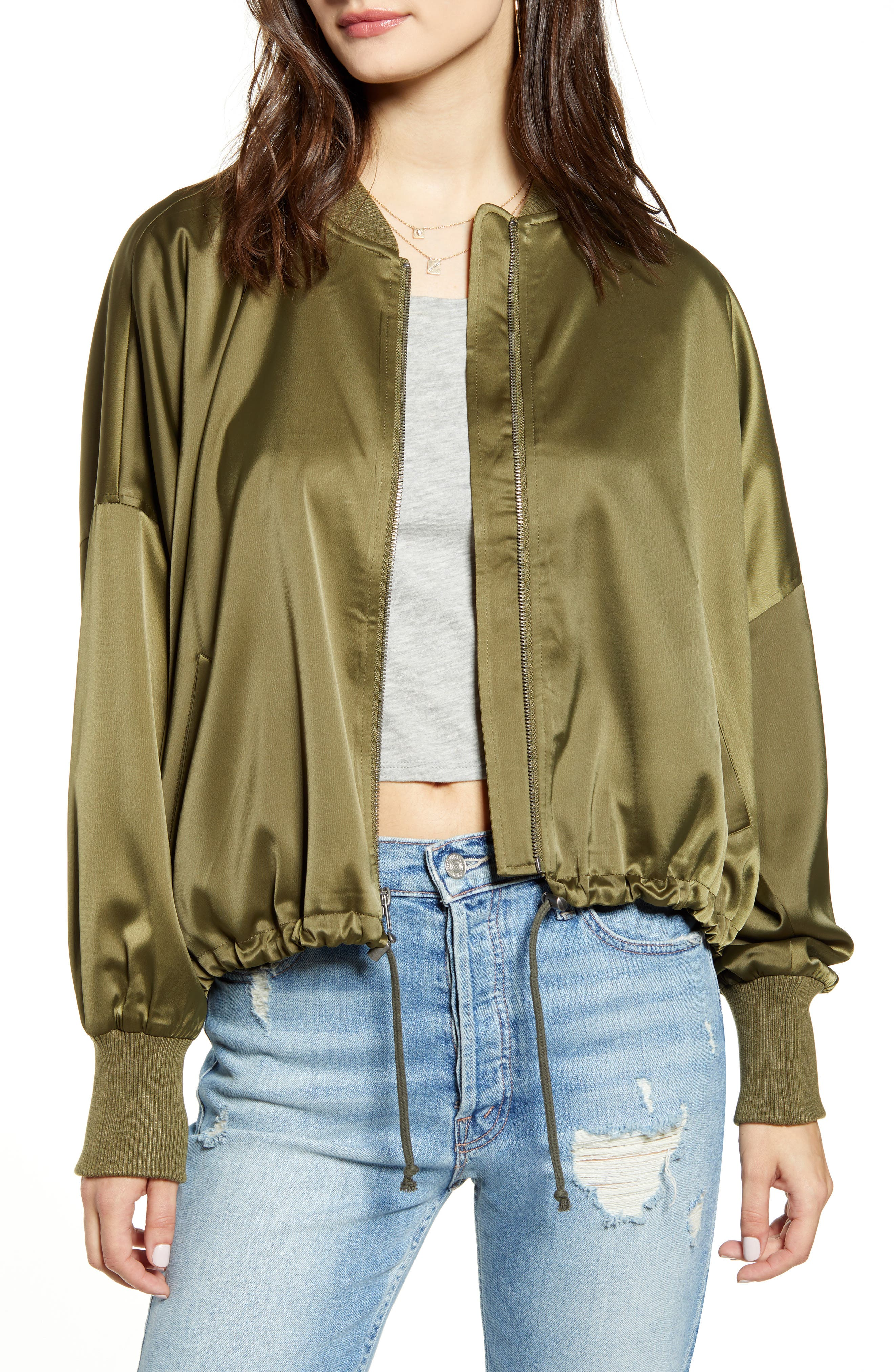 Jack by BB Dakota On Duty Satin Bomber Jacket